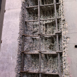 AquaJet's precise cut at a depth of 14 inches without damaging the rebar.